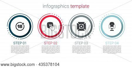 Set Plus 18 Movie, Online Play Video, Movie Spotlight And Director Chair. Business Infographic Templ