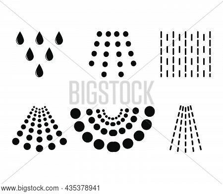 Water Spray Drops. Aqua  Liquid Spraying From Sprayer Or Shower. Black Shape Symbol. Vector Illustra