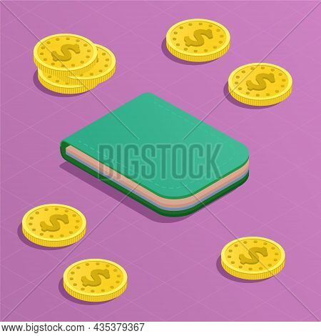 Online Wallet Isometric Concept. Scattered Coins And Payment Cards In The Green Purse. Money. Online