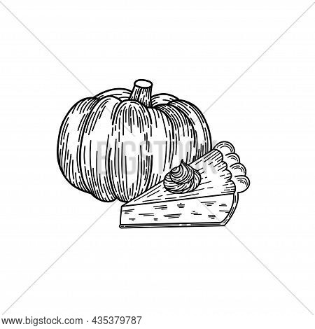 Pumpkin Pie Slice Hand Drawn In Sketch Style. Thanksgiving Day Design Isolated On White Background W