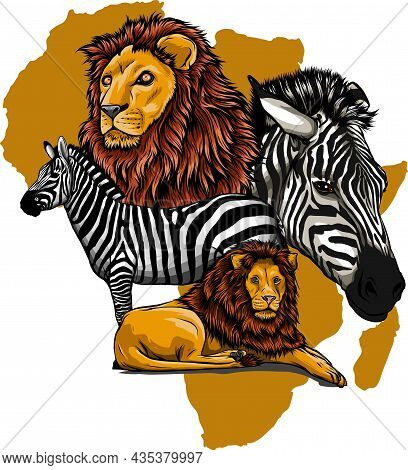 Vector Illustration Of Lion And Zebra In Africa