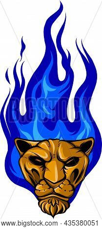 Vector Illustration Of Head Tiger With Flames