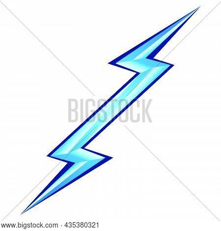 Blue Lightning Symbol On White Background. Power Energy Sign. Electricity Themed Illustration For Ic