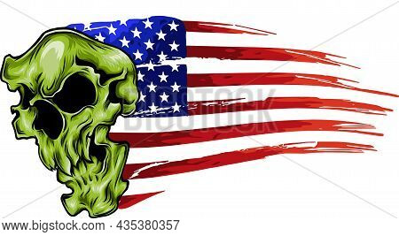 Vector Illustration American Flag With Skull Inside