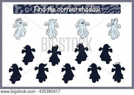 Find Correct Spooky Shadow Educational Game For Kids. Shadow Matching Activity For Children With Gho