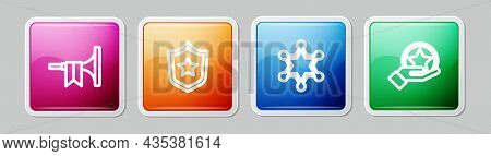 Set Line Trumpet, Police Badge, Hexagram Sheriff And Usa Independence Day. Colorful Square Button. V