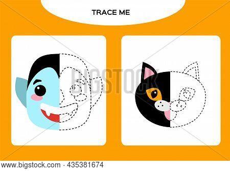 Dracula Vampire And Black Cat Worksheet. Education Game For Children. Happy Halloween Game. Super Mo