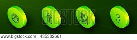 Set Isometric Line Checker Game Chips, Mahjong Pieces, Board Of Checkers And Chip For Board Icon. Ve