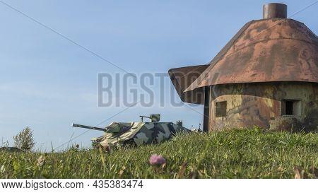 Vintage German World War 2 Armored Heavy Combat Tank Poised On The Battlefield. Model Of German Tank
