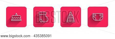 Set Line Cake With Burning Candles, Baby Socks Clothes, Pyramid Toy And Absorbent Diaper With Long S
