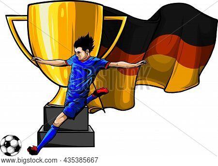Soccer Player Kicks The Ball. Vector Illustration.