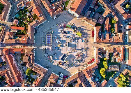 Town Of Palmanova Hexagonal Square Aerial View, Unesco World Heritage Site In Friuli Venezia Giulia