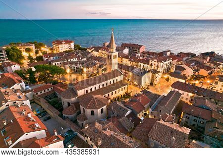 Town Of Grado Church And Waterfront Aerial Evening View, Friuli-venezia Giulia Region Of Italy