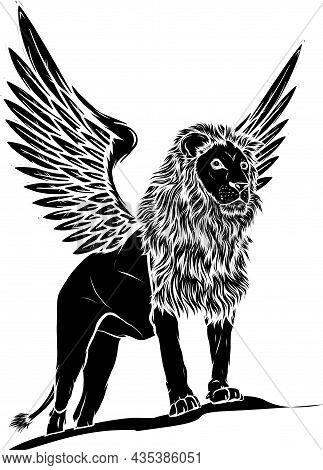 Winged Lion. Vector Illustration, Logo Or Icon On White Background