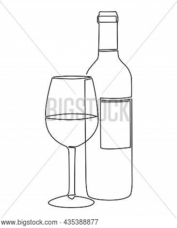 Continuous Single Line Wine Bottle And Wine Glass, Line Art Vector Illustration