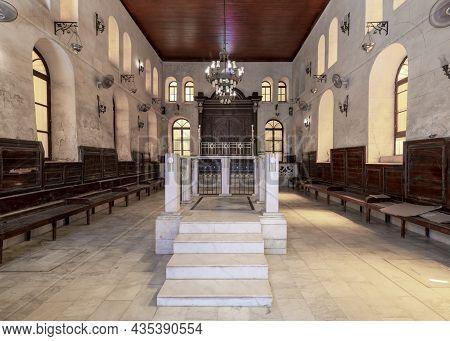 Cairo, Egypt- September 25 2021: Interior View Of Historic Jewish Maimonides Synagogue Or Rav Moshe