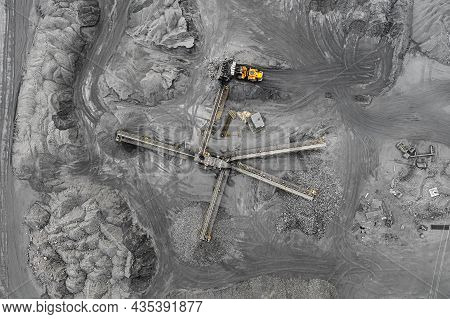 Open Pit Mine, Breed Sorting. Mining Coal. Bulldozer Sorts Coal. Extractive Industry, Anthracite. Cr