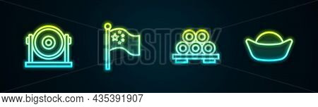 Set Line Gong, China Flag Flagpole, Sushi Cutting Board And . Glowing Neon Icon. Vector