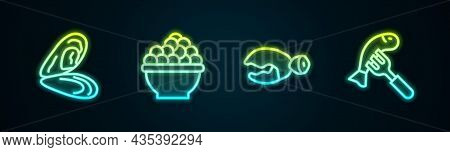 Set Line Mussel, Caviar, Lobster Or Crab Claw And Served Fish On Plate. Glowing Neon Icon. Vector