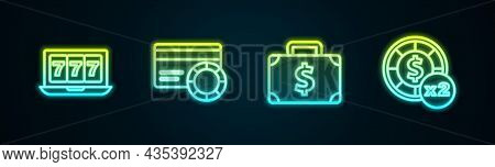 Set Line Online Slot Machine With Jackpot, Credit Card, Briefcase And Money And Casino Chips. Glowin