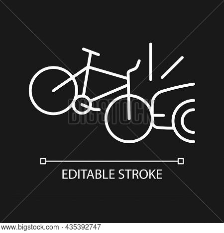 Car Collision With Cyclist White Linear Icon For Dark Theme. Accident With Bicyclist And Driver. Thi