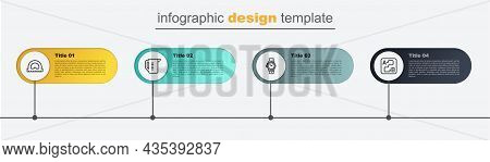 Set Line Route Location, Wrist Watch, Measuring Cup And Protractor. Business Infographic Template. V