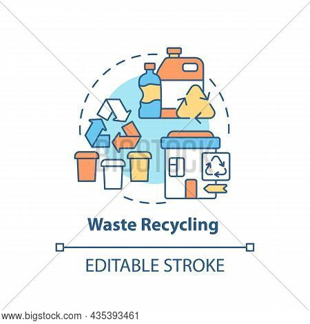 Waste Recycling Concept Icon. Garbage Management Abstract Idea Thin Line Illustration. Reprocessing