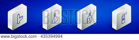 Set Isometric Line Toilet Bowl, Garbage Bag, Dishwashing Liquid Bottle And Air Freshener Spray Icon.