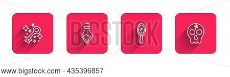 Set Line Old Magic Key, Bottle With Potion, Magic Hand Mirror And Skull With Long Shadow. Red Square