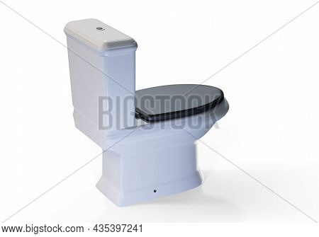 Ceramic Toilet Bowl Isolated On White. Modern Floor Mounted Flush Toilet With Top Spud Side View. Fl