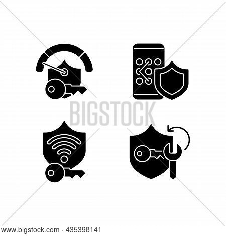 System Password Black Glyph Icons Set On White Space. Smartphone Lock. Wifi Protection. System Secur