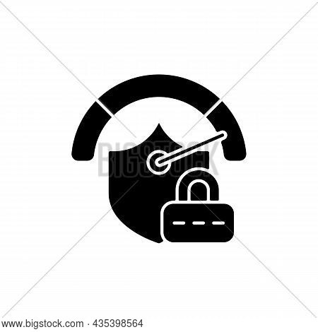 Strong Password Black Glyph Icon. Safeguard For Confidential Data. Internet Safety. Online Privacy.