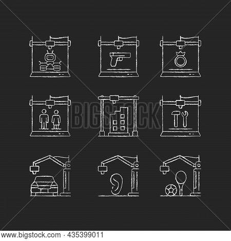 3d Printing Process Chalk White Icons Set On Dark Background. Design Representation. Rapid Prototypi