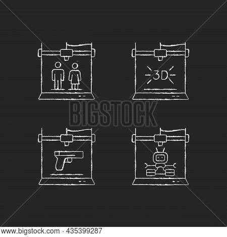 Produce 3d Models Chalk White Icons Set On Dark Background. Three Dimensional Object Fabrication. We