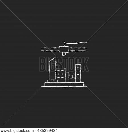 3d Printed City Plan Chalk White Icon On Dark Background. Urban Design. Visualization Technology. Co
