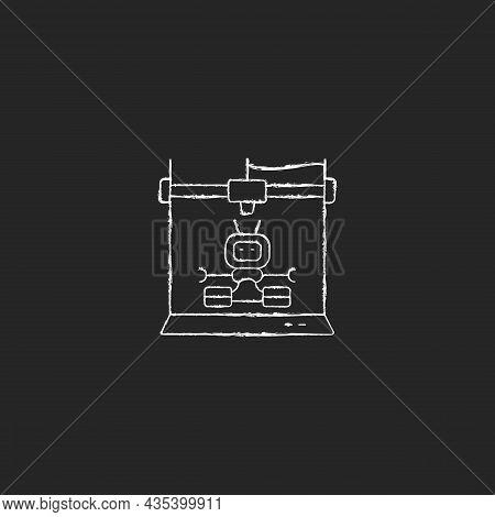 3d Robots Printing Chalk White Icon On Dark Background. Robotic Additive Manufacturing. Innovative R