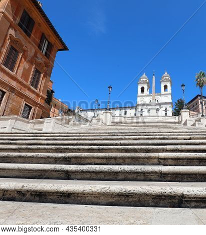 Spanish Steps In Rome Without People During The Coronavirus Lockdown Seen From Below