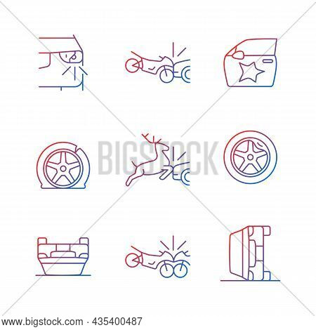 Common Car Crashes Gradient Linear Vector Icons Set. Rollover Accidents. Wildlife Vehicle Collision.