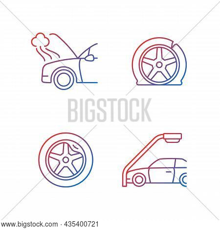 Vehicle Damage In Car Accident Cases Gradient Linear Vector Icons Set. Mechanical Breakdown. Automob