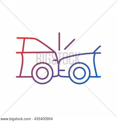 Rear-end Collision Gradient Linear Vector Icon. Hitting Vehicle From Behind. Accident In Congested T