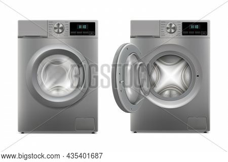 Modern Washing Machine With Opened Door And Closed Door, Front View. Design Template Of Wacher. Fron