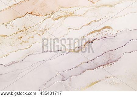 Abstract Hand Painted Alcohol Ink Texture. Light Coral, Violet And Golden Color Creative Background