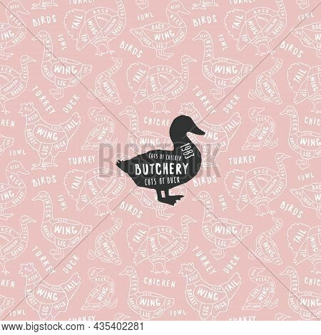 Seamless Pattern And Emblem In The Style Of Handmade Graphics For Poultry Shop And Butchery. Chicken