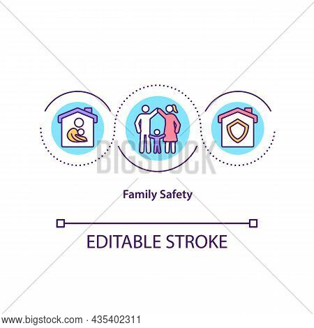 Family Safety Concept Icon. Home Security Abstract Idea Thin Line Illustration. Family Members Stayi