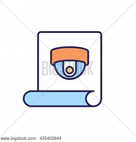 Camera Recording Sticker Rgb Color Icon. Supervision Warning Sign. Scaring Off Burglars And Intruder
