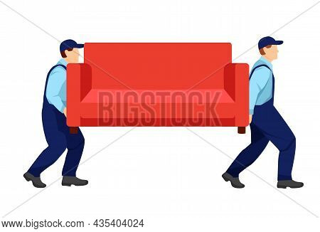 Movers In Uniform Carry A Red Sofa. Relocation. Transport Company. Moving Service. Cartoon Illustrat