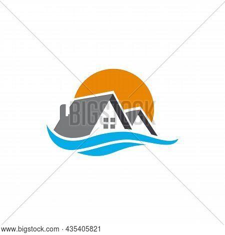 Real Estate Residence Logo Icon Flat Vector Concept Graphic Design