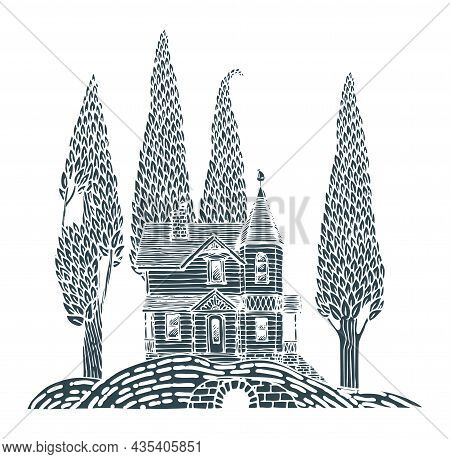 Decorative Landscape With A Log Country Two-story House And Slender Trees On A Hill. Monochrome Vect