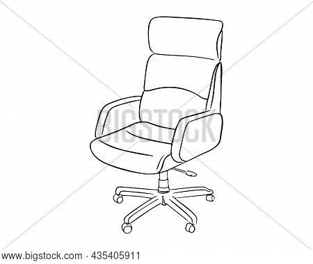 Office Chair Painted In Doodle Style With A Black Outline. Office Chair Isolated On A White Backgrou