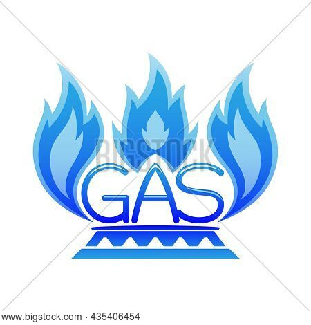 Illustration With Natural Gas And Burner Icon On White Background.